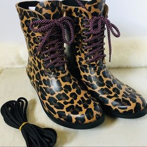 J. CREW Lace-up Rain Boots in Leopard